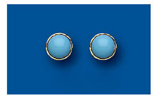 9ct Gold 5mm Real Turquoise Round Stud Earrings - UK Made - Hallmarked