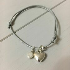 Heart & Pearl Charm Grey Cotton cord bracelet,Friendship. GIFT card. Birthday.