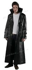 Gothic Van Helsing Genuine Cowhide Leather Goth Matrix Trench Coat for Men #570