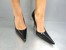 MADE IN ITALY LUXUS HIGH HEELS POINTY PUMPS SCHUHE DECOLTE LEATHER BLACK NERO 42