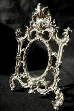 Vintage Ornate Cast Metal Easel Frame Oval Picture Stand Hollywood Regency