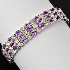 White Gold Plated Silver Womens 3 Row Purple Amethyst Stretch Tennis Bracelet