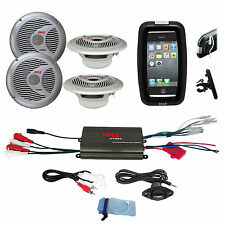 "Pyle Offroad Bike Boat Marine 6.5"" Silver Speakers, 800W iPod Input Amplifier"