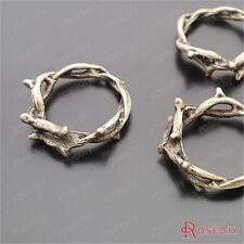 (29539)20PCS 21MM,inside 15MM Antique Bronze Plated Zinc Alloy Vine Rings Charms