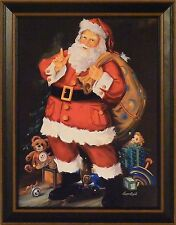 YOU BETTER WATCH OUT by Susan Comish FRAMED PRINT 15x19 Christmas Santa PICTURE