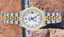 Donna in Acciaio e Oro Bianco MOP diamante quadrante lunetta & Shoulders Rolex Datejust.