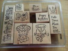 Stampin Up SOMETHING TO CELEBRATE baby birthday shower RSVP invite cake 9 stamp