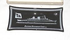 Eastern Steamship Lines Inc Emerald Seas Vintage Glass Candy Dish: original box