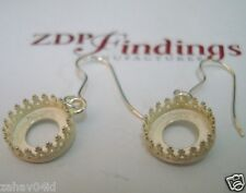 10mm Quality Cast Bezel Cups Setting on Ear Wire Dangle Earrings Silver Plated