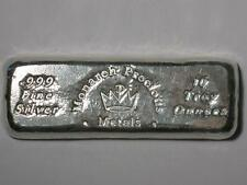 TEN TROY oz BREADLOAF BAR MONARCH PRECIOUS METALS 999 SILVER POURED INGOT 10 MPM