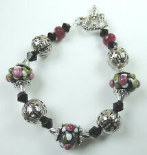 crafted Black LAMPWORK with Pink Flower BRACELET WITH Agate & CRYSTALS