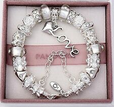 Authentic Pandora Sterling Silver Bracelet with White Love European Charms