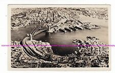 AERIAL view SYDNEY HARBOUR BRIDGE RPPC c.1930s-40s WALSH BAY Darling Harbour AU