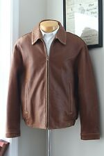 Andrew Marc New York Distressed Leather Bomber Jacket L Brown Soft Zipped Front