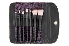 FAUX CROC 7-PIECE BRUSH SET BH Cosmetics makeup black purple crocodile case new
