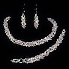 Parure de bijoux mariage 3 pièces collier bracelet boucles d'oreilles ton rose