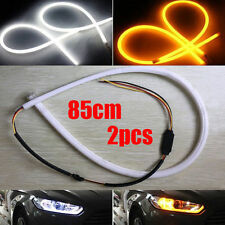 2pcs 85cm White Amber Flexible DRL Daytime Running Light Switchback LED Strip UK