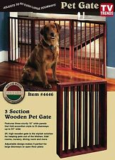 Folding Wood Pet Gate 3 Sections Free Standing Wooden Dog Cat Barrier Safety
