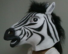 Deluxe Zebra Mask Latex Fancy dress Costume Horse Zoo Safari Animal