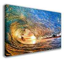 "UNDER THE WAVE BREAKING WAVE OCEAN SURFING CANVAS WALL ART 30"" X 18"" (LARGE)"