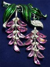 Trifari Alfred Philippe Pave Enamel Pink Demilunes Wisteria Pendants Pin Brooch