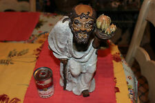 Stunning Chinese Mudman-Very Large-Old Evil Man W/Cane Carrying Fruit-Marked