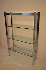 STUNNING VINTAGE MERROW ASSOCIATES CHROME & GLASS DISPLAY CABINET SHELF BOOKCASE