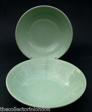 "TWO Wood & Sons Green Beryl Pattern Soup Cereal or Dessert Bowls 16.5cm (6"") VGC"