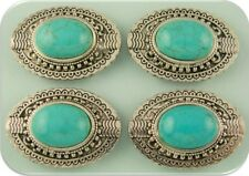 Beads Faux Turquoise Oval Conchos ~ Silver Plated Metal ~ 2 Hole Sliders QTY 4