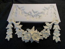 SILICONE RUBBER MOLD ROSES AND LEAFS SWAG MOULDING FURNITURE PROJECTS
