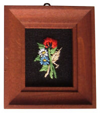 Dolls House Hand Made Miniature 1980s Embroidery Picture Dark Wood Frame Poppy