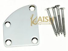 Chrome Electric Guitar Neckplate Metal Neck Plate & Screws for DELUXE Strat Tele
