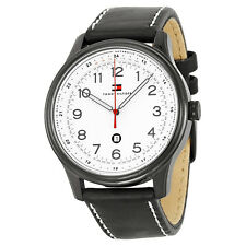 Tommy Hilfiger White Dial Black Leather Mens Watch 1710309