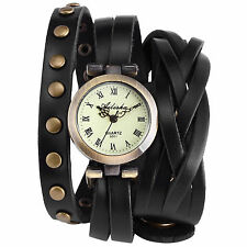 Fashion Wrap Around Bracelet Analog Quartz Lady Women Wrist Watch