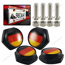 Metal Car License Plate Frame Decor Screws Bolts Caps Covers Germany Flag 4x