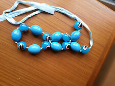 Blue evil eye? bead necklace - large blue ceramic beads with pink eye bean