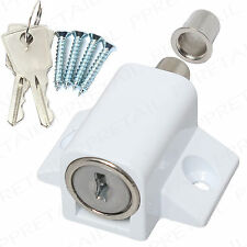♦WHITE PATIO DOOR LOCK CATCH+SCREWS♦ Sliding UPVC Metal Window Locking Dead Bolt