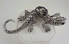 Fashion Lizard - Gecko - Crystals Set in Antique Silver Tone Pin - Brooch - NEW!