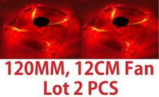 Lots 2 Red Quad 4-LED Light Neon Clear 120mm PC Computer Case Cooling Fan Mod