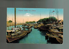 Mint  China picture color  Postcard Junks Ships in a River
