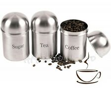 3 Pcs Brushed Stainless Steel Canister Jar Tea Sugar and Coffee Pot Domed Lid