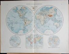 "1900 ""TIMES""  LARGE ANTIQUE MAP - THE WORLD, WESTERN AND EASTERN HEMISPHERES"