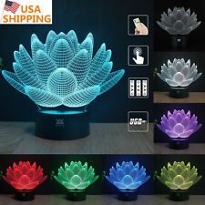 Lotus 3D Acrylic LED Night light 7 Color Change Touch Table Desk Art Lamp Gift