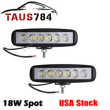 "2x 18W 6"" Spot Offroad Work LED Light Bar Driving DRL Lamp 4WD Boat Truck SUV"