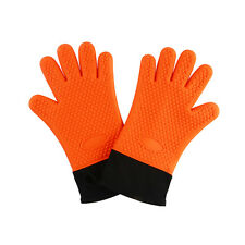 2 Silicone Barbecue Heat Resistant Gloves Oven Kitchen Grill BBQ Cooking Mitts