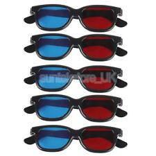 5pcs Red/Blue 3D Glasses Black Frame For Dimensional Anaglyph Movie Game DVD