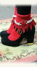 Victorian Trading Co Red & White Venetian Lace Lolita Socks w/ Roses New