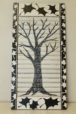 "Primiteve Art Black and white Tree Shutters Exterior 12"" x 24"" window Shutter"