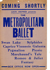"""COMING SHORTLY"" - POSTER PROMOTING THE 1947 METROPOLITAN BALLET THEATRE TOUR"