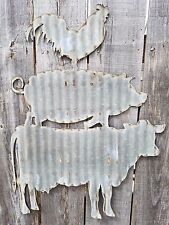 Cow, Pig, Chicken Corrugated Metal Sign Free Shipping